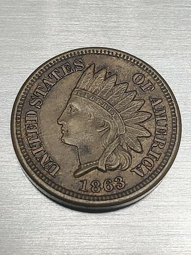 1863 Indian Head Cent Extra Fine + ** 4 Diamonds**