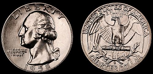 1958-D Washington Quarter-Choice Gem Brilliant Uncirculated Luster