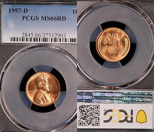 1957-D Lincoln Wheat Cent-PCGS MS 66 RD Brilliant Uncirculated