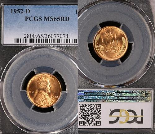 1952-D Lincoln Wheat Cent-PCGS MS 65 RD