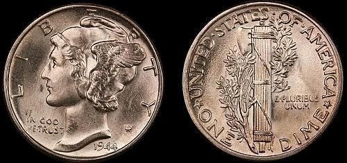 1944 Mercury Dime-Choice Gem Brilliant Uncirculated ++++++ FSB