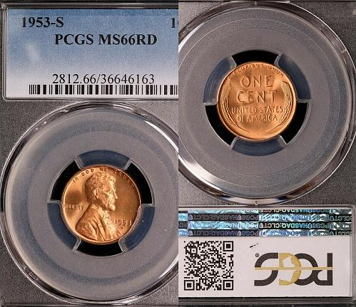 1953-S Lincoln Wheat Cent-PCGS MS 66 RD Brilliant Uncirculated