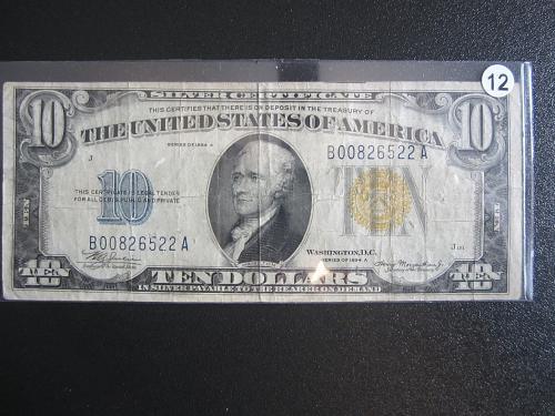 1934A. $10 TEN DOLLAR YELLOW SEAL BILL Silver Certificate! #12