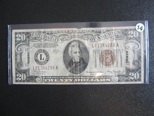 1934-A  $20 TWENTY  DOLLAR BROWN SEAL WW II HAWAII RARE CURRENCY #14