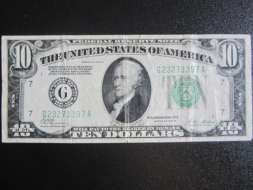 1928B $10 TEN  DOLLAR GREEN SEAL BILL FEDERAL RESERVE CHICAGO BILL #18