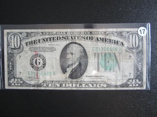 1934-C $10 TEN  DOLLAR GREEN SEAL BILL FEDERAL RESERVE CHICAGO BILL #17
