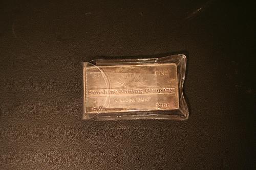 1968 3 Troy Ounces Sunshine Mining Company Vintage .999 Fine Silver Bar