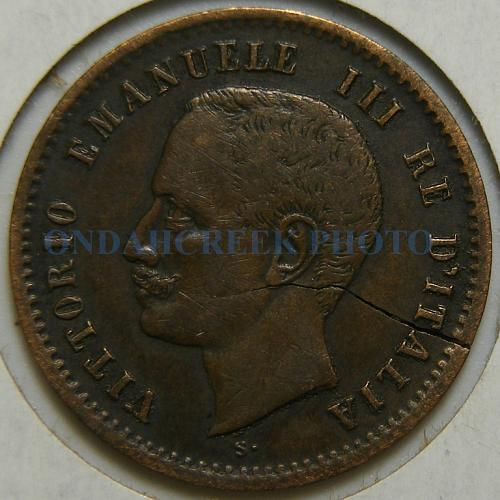 1906 R Italy 2 Centesimi KM# 38 Cracked Planchet World Coin Error