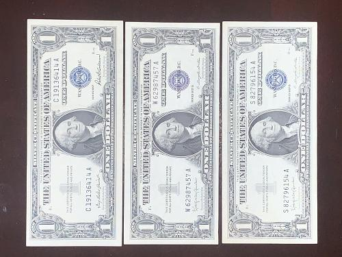 FV$3.00 LOT (3) CRISP $1.00 Silver Certificates 1957 SERIES INCL. 1957/57A/57B -