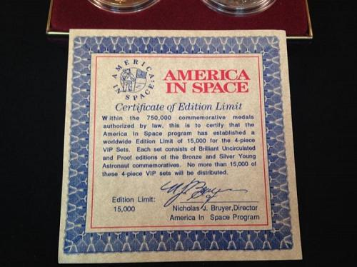 1988 Young Astronauts America in Space 2 Coin Set