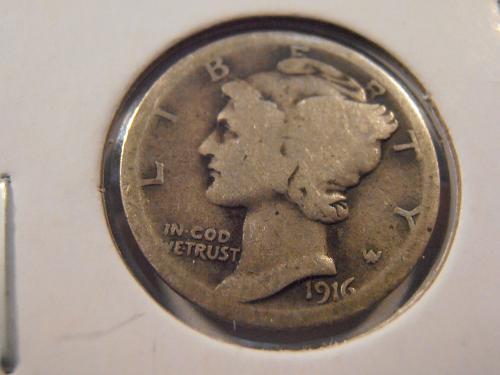 1916 P Mercury Silver Dime,   (16PM2)