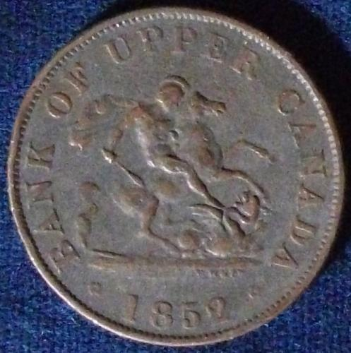 1852 Bank of Upper Canada Halfpenny Token F-VF
