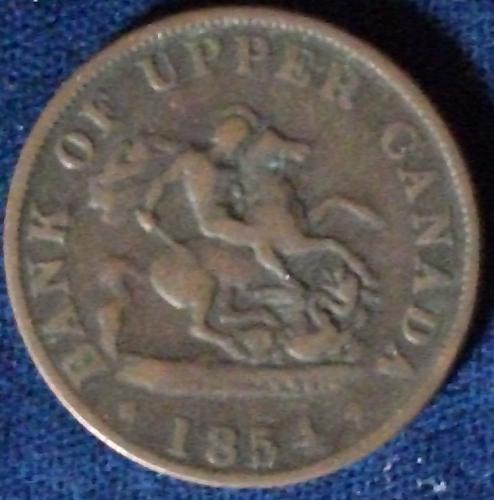 1854 Bank of Upper Canada Halfpenny VG