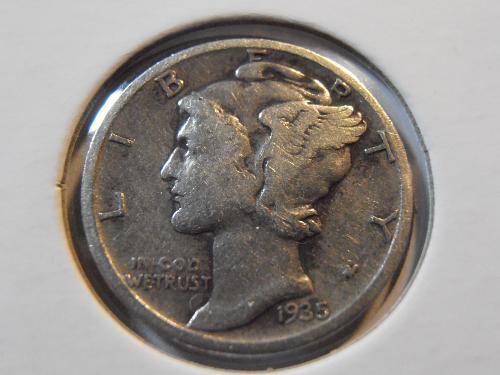 1935 S Mercury Silver Dime (35SM5)