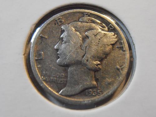 1935 S Mercury Silver Dime (35SM7)