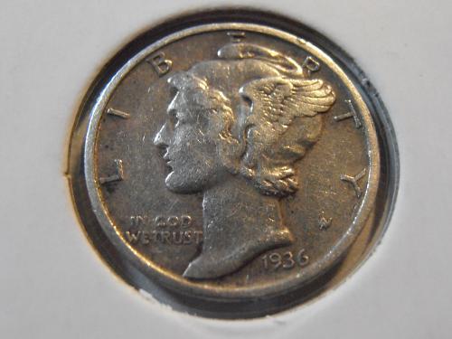 1936 P Mercury Silver Dime (36PM5)
