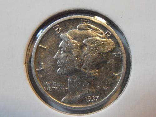 1937 P Mercury Silver Dime (37PM4)