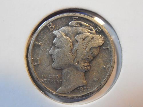 1937 S Mercury Silver Dime (37SM3)