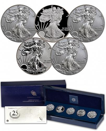 2011 Silver Eagle 25th Anniversary Set - original unopened 5 set box from the US