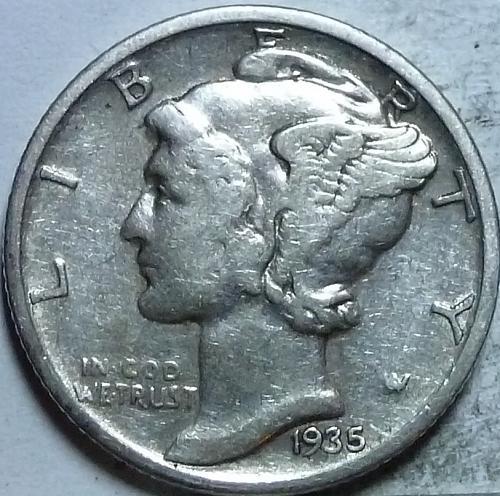 1935-P Very Fine Mercury Dime   ( 222)