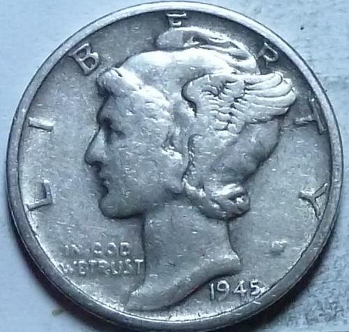 1945-D EXTRA FINE Mercury Dime XF ( 224)