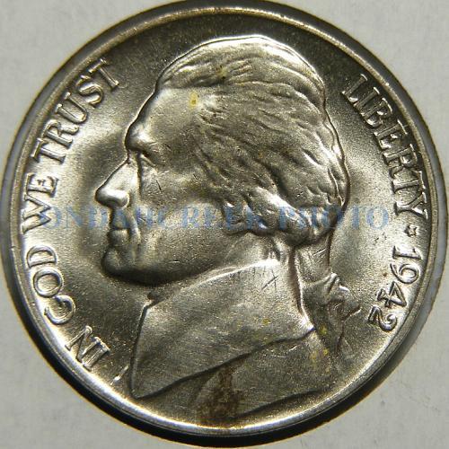 1942-P Jefferson Nickel Lamination Error Reverse