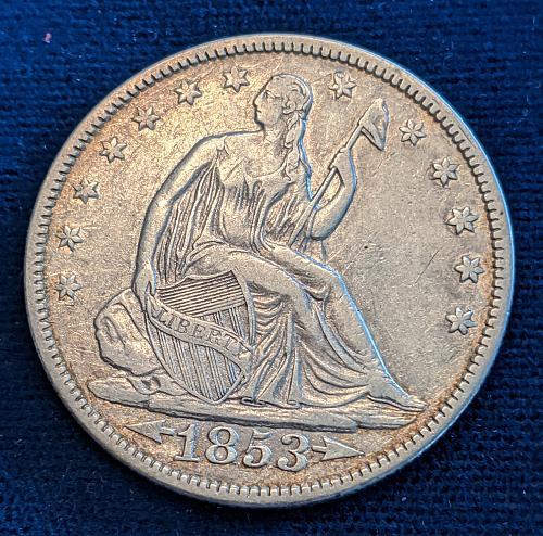1853 ARROWS & RAYS VERY FINE SEATED LIBERTY HALF DOLLAR