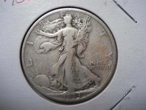 1933-S Walking Liberty Half Dollar.  Very Fine Grade.  Original Surfaces.