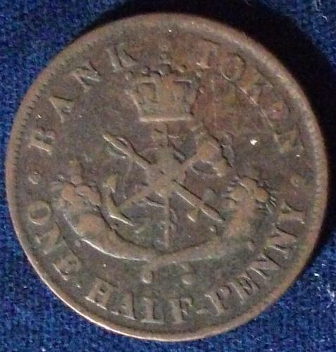 1857 Bank of Upper Canada Halfpenny Fine