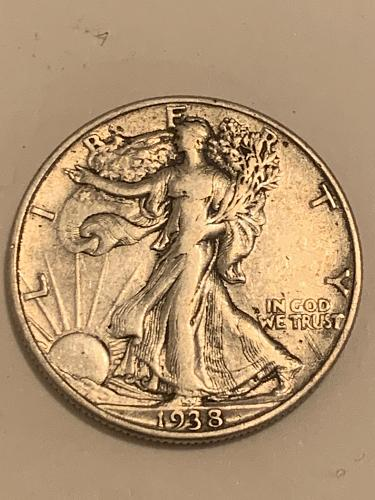 1938 P Walking Liberty 90% Silver Half Dollar- Popular Date
