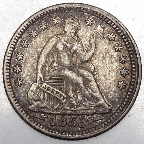 1853 P Seated Liberty Half Dime#1 ARROWS  Natural Toning BV=$145