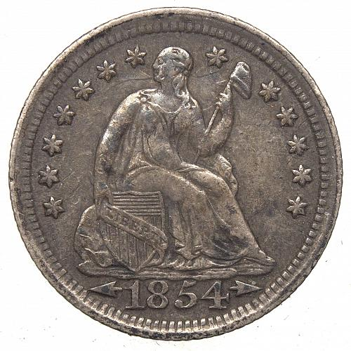 1854 P Seated Liberty Half Dime#1 ARROWS Natural Toning  BV= $125