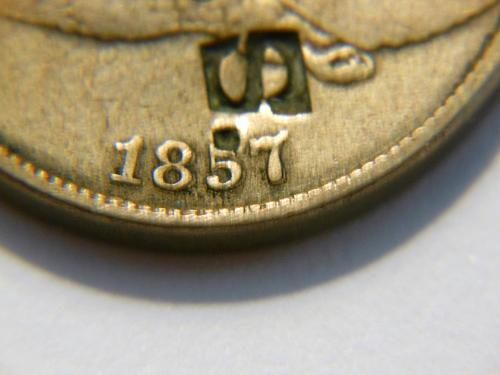 *RARE* 1857 *Double Die Date* Flying Eagle Cent Error and Counter Stamped (GES)