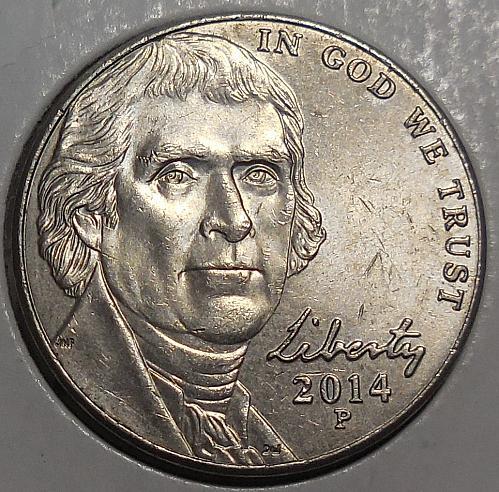 2014-P Jefferson Nickel Class VIII Doubled Die Reverse