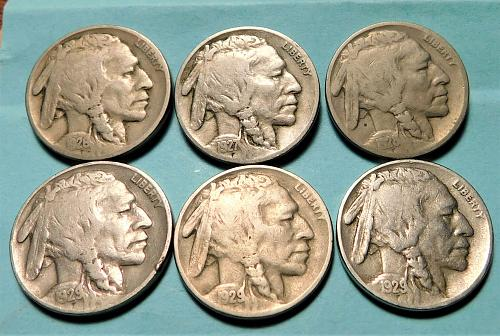 MIXED LOT OF (6) DIFFERENT INDIAN HEAD / BUFFALO NICKELS