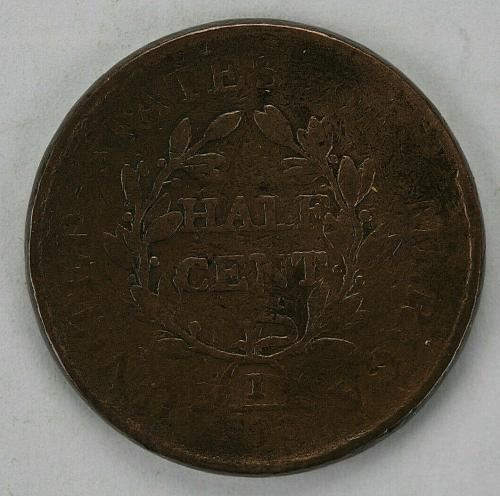 1806 No Stems Draped Bust Half Cent