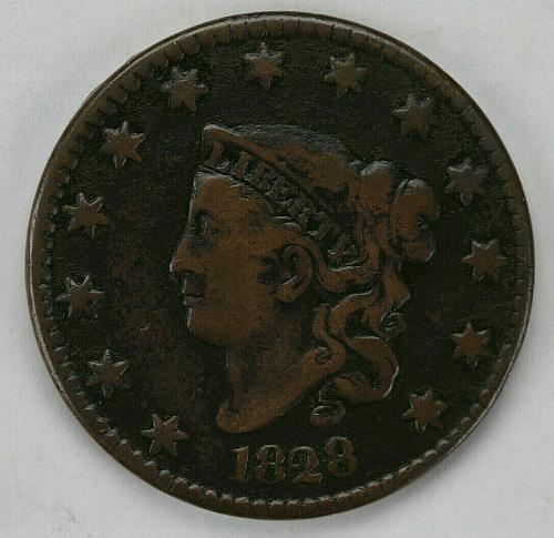 1828 Large Narrow Date Coronet Head Large Cent