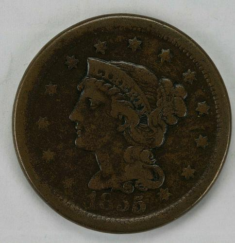 1855 Upright 55 Braided Hair Large Cent