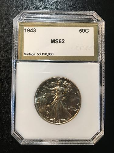 1943 WALKING LIBERTY HALF DOLLAR PCI MS-62 - UNCIRCULATED - SILVER  - CERTIFIED