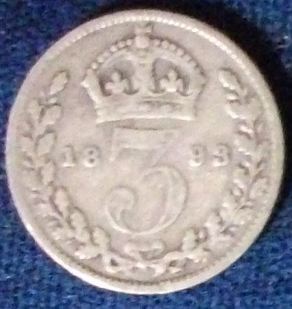 1893 Great Britain 3 Pence G-VG
