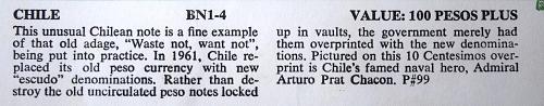 1961 CHILE 100 PESO PLUS P#99 UNC