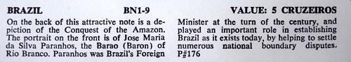 BRAZIL 5 CRUZEIROS P#176 UNC