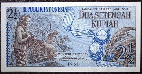 1961 INDONESIA 2 1/2 RUPIAH P#79 BANK NOTE  UNC