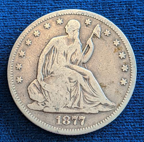 1877S VERY GOOD SEATED LIBERTY HALF DOLLAR