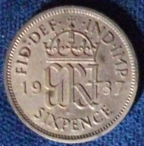1937 Great Britain Sixpence XF #2