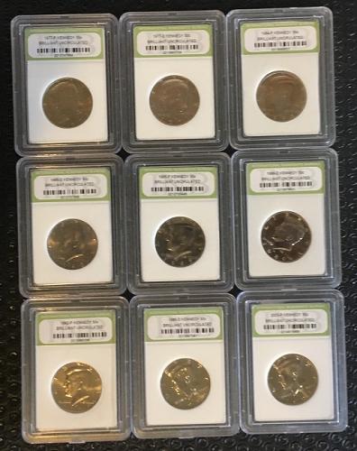 Dealers Lot of BU Kennedy Half's total of  9 Coins PKL Estate