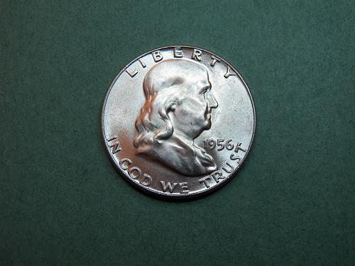 1956 P Franklin Half Dollar Brilliant Uncirculated Coin   v38
