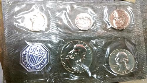 1959 Proof set, Coins excellent, envelope opened and small amount of writing
