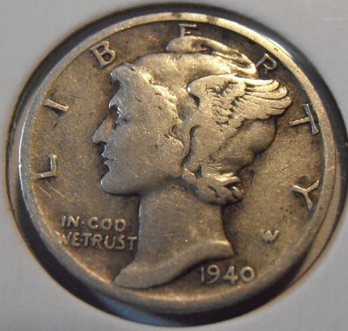 1940 S Mercury Silver Dime (40SAC2)