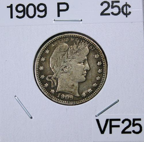 1909 Barber Quarter Dollar